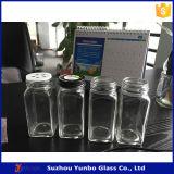 frascos desobstruídos de vidro do biscoito quadrado de 6oz 8oz