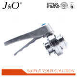 Válvula de borboleta sanitária da linha com o punho do aço inoxidável