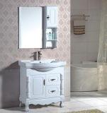 Armário de banheiro branco estando do assoalho do PVC da alta qualidade