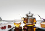 Персонализируйте чайник Transprent одностеночный стеклянный с стрейнером