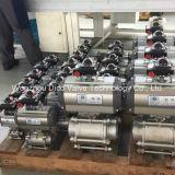 Шариковый клапан нержавеющей стали 3PC с одиночным пневматическим приводом