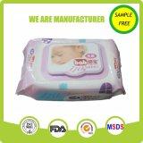 Poseer el trapo sin alcohol del bebé del cuidado de piel de Spunlace Nonwovven de la marca de fábrica