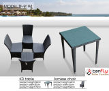 Cadeira e mesa de jantar ao ar livre de vime em pó Rattan a mão