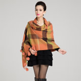 Lady Fashion Wool Knitted Rabbit Fur Ball Shawl d'hiver (YKY4483)