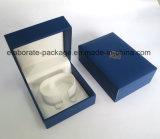 فريدة ملكيّة اللون الأزرق جلد تغطية مجوهرات صندوق محدّد