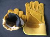 De gouden Handschoen van het Werk van het Leer van de Koe Gespleten
