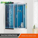 Cerco de vidro azul do chuveiro do vapor da porta deslizante