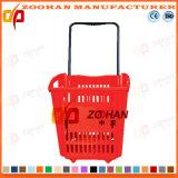 Supermarkt-Plastikeinkaufskorb mit Fußrollen (Zhb11)