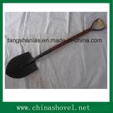 Shovel Steel Spade Shovel avec poignée en bois de couleur rouge
