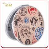 Kundenspezifischer Kreis-Form-Leder-Vertrags-Spiegel mit Metallcharme