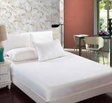 Folha 100% de base do rei Rainha Caber branco do algodão da qualidade do hotel (WSFI-2016022)