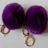 卸し売りウサギの毛皮POM Poms Keychains