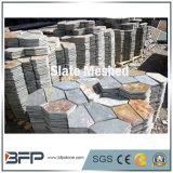 Gris / Negro / Amarillo malla de pizarra Net Flagstone para pavimentar al aire libre azulejos