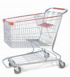 4 Rad-Stahlchrom galvanisierte Supermarkt-Einkaufen-Laufkatze