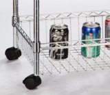 Houseware驚かせる3層Chrome Powder Coated Wire Rack 4 Baskets Shelf Trolley (600*350*1200 mm)