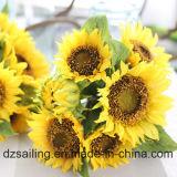 Flor artificial del ramo del girasol de 7 pistas (SW22101)