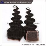 Chiusura del merletto di estensione dei capelli umani dell'onda del corpo