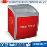 Congelador aberto da caixa da parte superior portátil da porta de vidro de deslizamento para o gelado