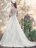 Кнопка Neckline 0074 шлюпок отвесная задняя над платьем венчания застежки -молнии с кристаллический поясом