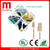 USB trançado de nylon 2.0 um macho ao cabo cobrando da sincronização dos micro dados de B
