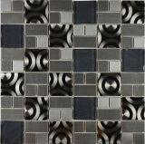 Diseño especial de 300 * 300 mm de acero inoxidable y del mosaico del azulejo de suelo de azulejo (FYMG040)