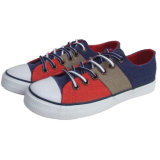Soft respirável Red/Beige Check Plimsoll Canvas Shoes com Rubber Toe