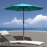 9 FT-Aluminiumpatio-Regenschirm-im Freientisch-Regenschirm mit Druckknopf-Neigung und Kurbel, 8 Stahlrippen, Polyester 100%, blau
