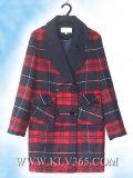 Capa larga de las lanas de la tela escocesa del invierno de la caída de la manera de las señoras de la venta al por mayor de la ropa de diseñador