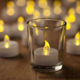 Tealight 노란 경경 백색 기본적인 유리제 홀더