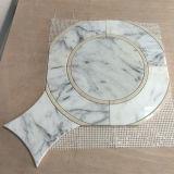 Плитка мозаики Carrara популярного зеркала надувательства форменный белая водоструйная