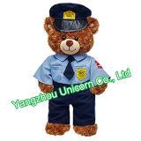Polícia macia do polícia do urso da peluche do brinquedo do luxuoso do animal enchido dos miúdos