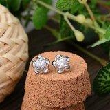Fiore della prugna dell'argento sterlina di modo 925 delle donne - orecchini a cristallo a forma di