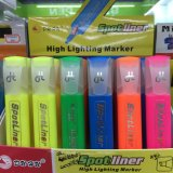 Pena do Highlighter de 6 cores, pena de marcador fluorescente com caixa de indicador