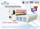 Cadena semi-automático alimentador rotativo Troquelado caja de cartón que hace la máquina