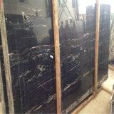 Дешевый черный мрамор, черный мраморный настил, мрамор черноты дракона Portoro серебряный