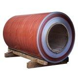Bobine en aluminium enduite par couleur avec la configuration en bois