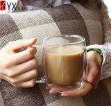 tazza di caffè di vetro doppia dell'ufficio 200ml Mouthblown fatto a mano termoresistente