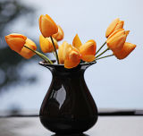 Classic Handcrafted Table Top Solid Black Chinese Porcelain Glazed Flower Vases