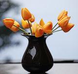 고전적인 손으로 만들어진 탁상용 단단한 까만 중국 사기그릇에 의하여 윤이 나는 꽃 화병