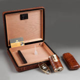 Cohiba klassischer Eleganz-Zeder-Zigarre-Luftfeuchtigkeitsregler mit Scherblock, Feuerzeug, Befeuchter und Siphot (ES-EB-008)