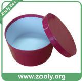 Rectángulo de regalo de papel redondo con la tapa/el rectángulo impreso rojo del sombrero (ZH003)