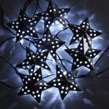 Indicatore luminoso solare 10 LED della stringa della stella del metallo