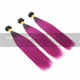 7A等級によって染められるOmbreの紫色のまっすぐなブラジルの人間の毛髪のよこ糸