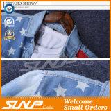 O revestimento longo à moda da luva do algodão do Mens veste a camisa da sarja de Nimes da forma