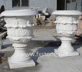 Hand geschnitzter Marmorblumen-Potenziometer für Garten-Dekoration