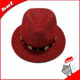 Sombrero de papel tejido de Sun del sombrero de ala de la paja