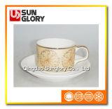 Польностью напечатанная кружка кофеего фарфора с резьбой Gloden Bd042