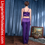 여자의 놓이는 섹시한 2개 피스 잠옷 에뮬레이션 실크 결박 잠옷