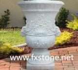 POT di fiore intagliato marmo bianco puro (MFP-003)