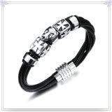 De Armband van het Leer van de Juwelen van het Leer van de Juwelen van het roestvrij staal (LB473)